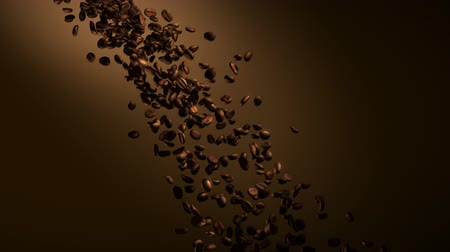 black coffee : Coffee beans in slow motion