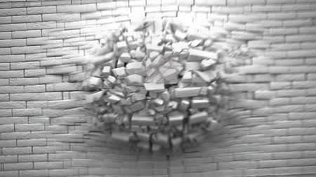 isolado no branco : Wall of white bricks explosion with fireball   alpha