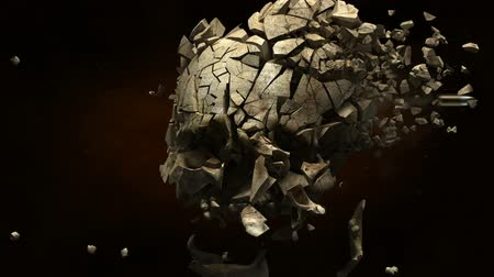 arma de fogo : Exploding skull with bullet in slow motion