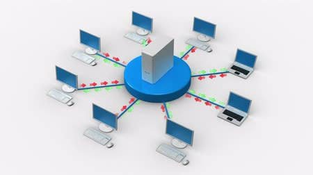 gelişme : Network diagram - ServerClient  Stok Video