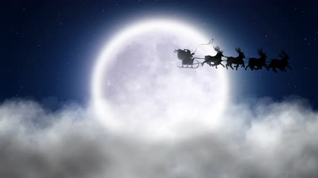 santa : Santa with reindeer flies over moon 1 Stock Footage