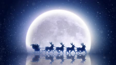 santa : Santa with reindeer flies over moon