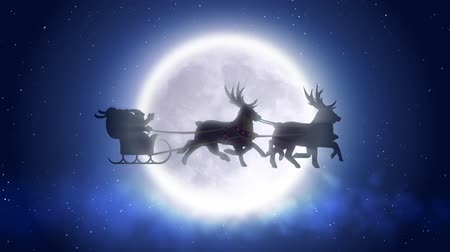 santa : Santa with reindeer flies over moon 2 Stock Footage