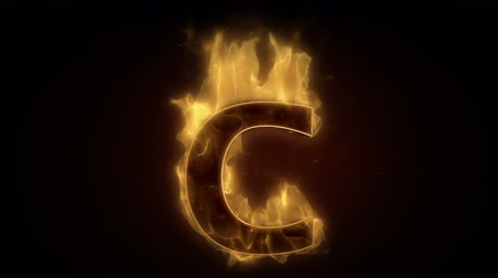 ohnivý : Fiery letter C burning in loop with particles