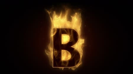 hot news : Fiery letter B  burning in loop with particles
