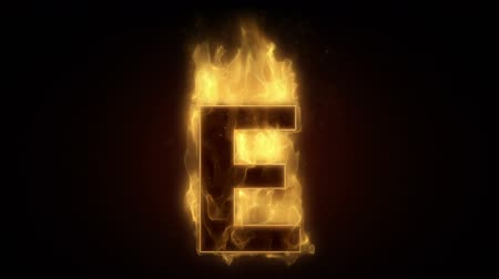 hot news : Fiery letter E  burning in loop with particles