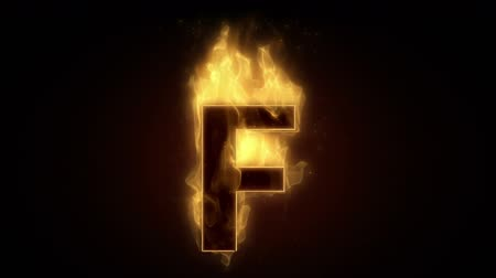 letter f : Fiery letter F  burning in loop with particles
