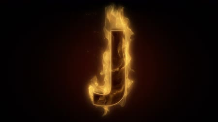 letras : Fiery letter J burning in loop with particles