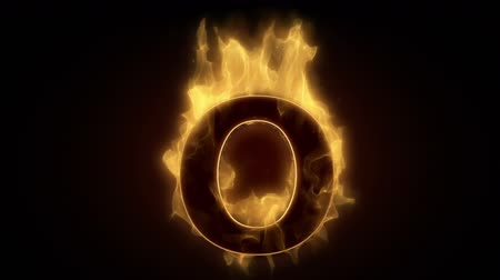 grão : Fiery letter O burning in loop with particles  Stock Footage