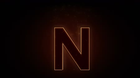 letras : Fiery letter N burning in loop with particles