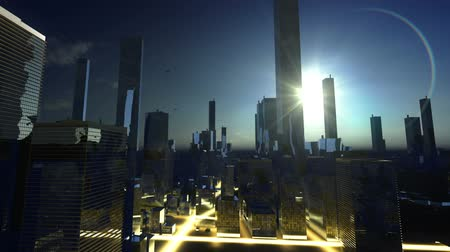 sunset city : Sun over skyscraper in horizon