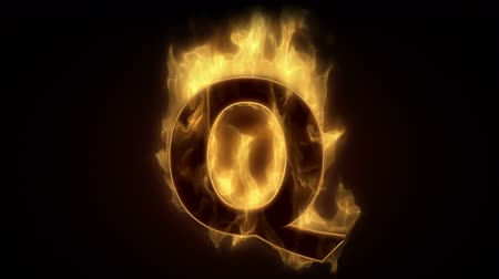 alphabet : Fiery letter Q  burning in loop with particles