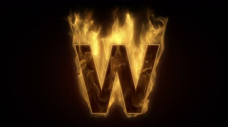 letter w : Fiery letter W  burning in loop with particles