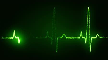 линии : Heart beat pulse in green  Стоковые видеозаписи
