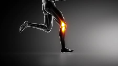 kolano : Running man with knee joint detail lateral view  Wideo