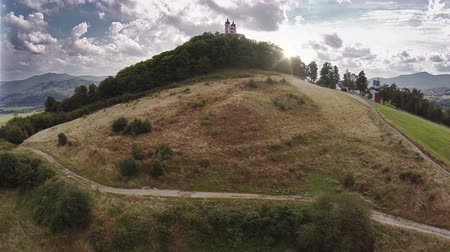 kopec : Castle on the Hill in sunset - aerial footage Dostupné videozáznamy