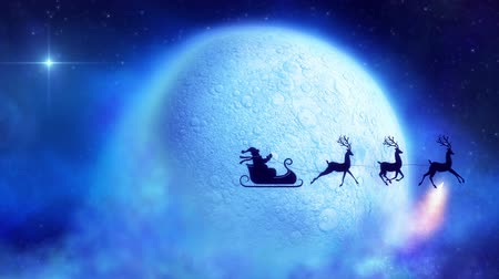 Санта шляпе : Santa claus with reindeer  flies over moon with colorful comet