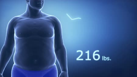 obesidade : Fat man to slim with diagram in Lbs.