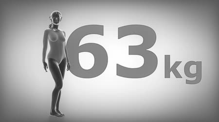 диета : Woman Obesity concept - Slim to obese in kg Стоковые видеозаписи