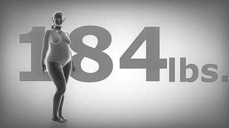 obesidade : Woman Obesity concept - Fat to slim in Lbs. Stock Footage