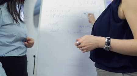 flip chart : Two beautiful women discuss plan of work at office Stock Footage