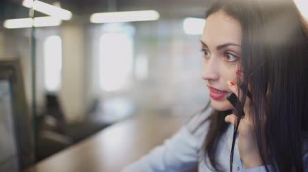 бухгалтер : Brunette woman in office talking on telephone during break indoors.