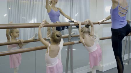 lesson : Teacher near ballet shows young children dance position. Two girls learn to do exercises on wooden crossbeam, which is taught by woman in dance studio.