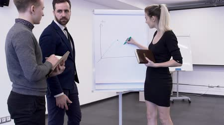 рабочей группы : Young female financial analytic is presenting the bitcoin maret changes for her colleagues in boardroom. Businessman in blue suit and male intern in grey jumper with notebook in his hands are standing near the whiteboard and looking how businesswoman in b