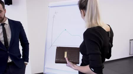 education meeting : In office of colleague look at a meeting woman draws a graph on board. Female business manager on white surface explains to companys employees growth in chart and the way to success. slowmotion slow motion