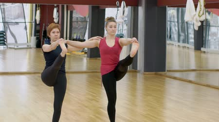 psicodélico : Adult women practice oriental asanas in modern studio. Caucasian females are in position with raised leg in sports club. Fitness ladies perform physical and psychic practices, holding on to each other with hands, maintaining balance. They train in good mo Stock Footage