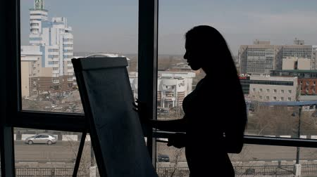 imaginário : Young female employee is writing paperboard standing on window background in modern office, silhouette of sexy woman is doing notes, planning working day indoors with city view. Concept: corporate, career growth, successful.