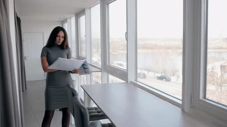 bacaklar : Young sexy businesswoman is looking blueprint, standing in bright office, beautiful brunette in dress is working with new project in company on background of windows. Concept: workspace, business person, modern interior.