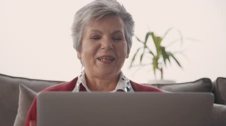 conferencing : Happy old woman waving hand looking to laptop screen. Retired female talking to family on video call. Concept of: age, home, technologies. Portrait. Stock Footage