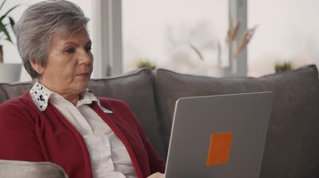 носить : Adult confident woman is sitting on sofa and working by new digital technology laptop. White hair and casual wear senior is browsing information in network computer. Attractive retired female is making finance research. Стоковые видеозаписи