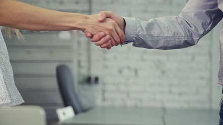 meeting negotiate : Female partner is making handshake together with confident man at office background. Two professional successful people in cooperation and contract agreement. unrecognizable woman and businessman in formal wear.