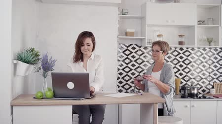 descuidado : Two peaceful, calm and kind adult and mid-aged woman working on laptop and making hot aroma tea. They spending careless weekend day in bright light flat with natural and soft daylight Stock Footage