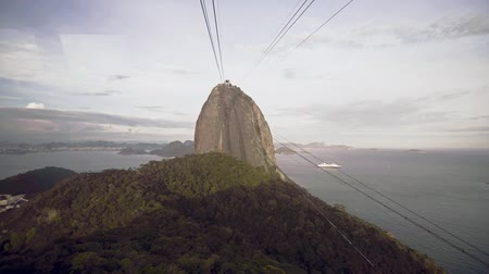 sugar loaf : Cable Car Traffic at Sugar Loaf Mountain, Rio de Janeiro, Brazil Stock Footage