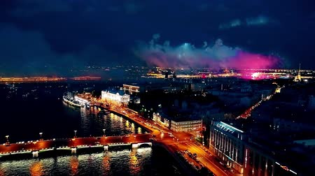 řev : Salutes and fireworks on the Neva River in St. Petersburg,
