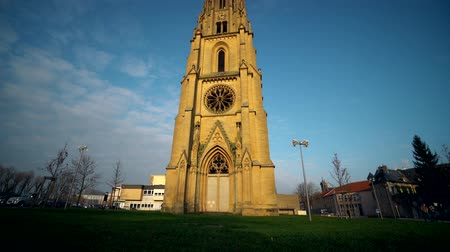neuf : The tower of the Temple de Garnison in Metz, France. Stock Footage