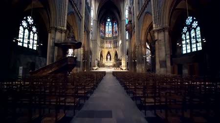 saint stephen : Cathedrale de Metz, Saint-Stephen Cathedral Stock Footage
