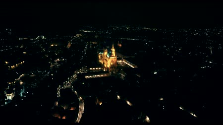 neuf : Aerial drone flight over night Metz in, France