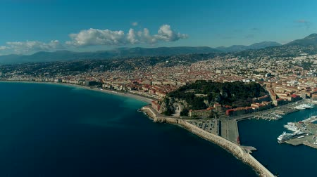 Aerial view of Nice France city and Mediterranean Sea