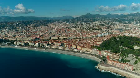 moorage : Aerial view of Nice France city and Mediterranean Sea