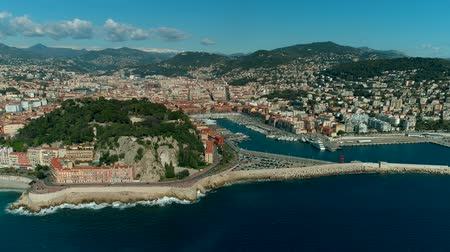 Aerial view of Nice port and Mediterranean Sea