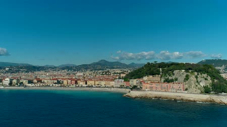 moorage : Aerial view of Nice France promenade and Mediterranean Sea Stock Footage