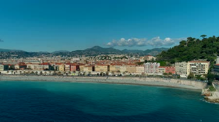Aerial view of Nice France promenade and Mediterranean Sea Wideo