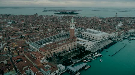 Aerial view of Venice panoramic landmark, aerial view of Piazza San Marco or st Mark square, Campanile and Ducale or Doge Palace. Italy, Europe. Drone view. Wideo