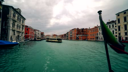 water taxi : Boat traffic along the Grand canal in Venice with Grand Canal Italy 4K
