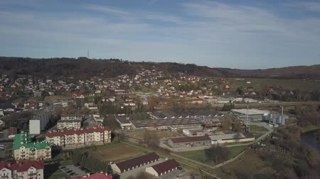 Strzyzow, Poland - 9 9 2018: Photograph of the old part of a small town from a birds flight. Aerial photography by drone or quadrocopter. Advertise tourist places in Europe. Planning a medieval town.