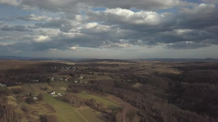 suisse : Panorama of the village near the city of Jaslo in Poland with a birds-eye view. Stormy sky with clouds. Aerial photography of landscapes and settlements. Urbanization of the country. The living environment of people